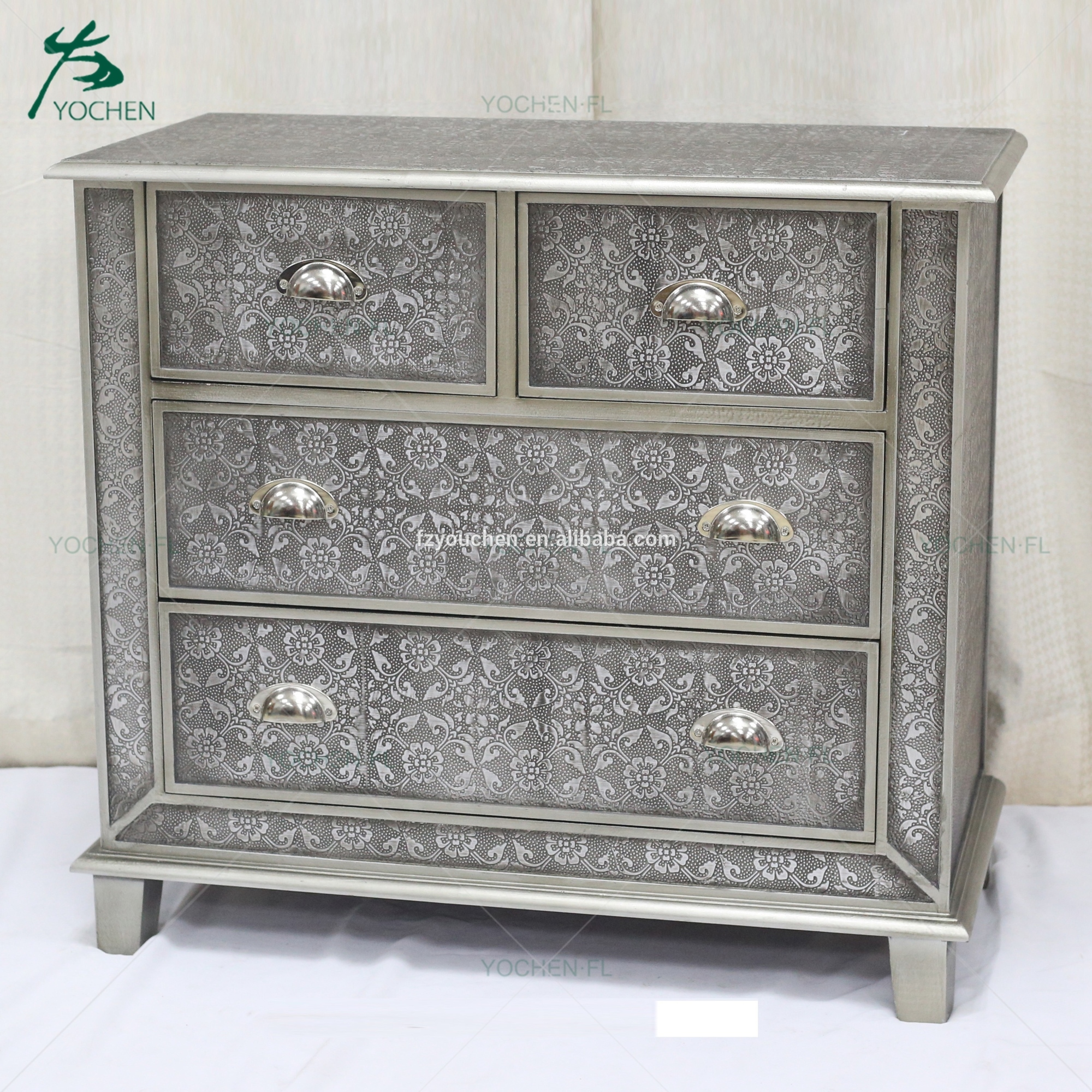 chinese antique reproduction furniture embossed wood cabinet small drawer