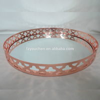 Plated metal storage tray,decorative galvanized storage tray,round metal tray
