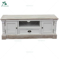 Wooden French Style Antique White Single Drawer TV Unit