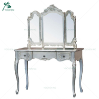 Sliver italian furniture french style 3mirror dressing table dresser furniture