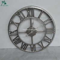 Industrial Silver Roman Metal Wall Clock