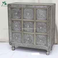 Antique wood cabinet with many small drawers wood furniture design in living room