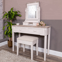 Dresser Furniture Antique French Wooden White Dressing Table With Mirror