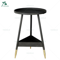 New Style Metal frame wooden top round side coffee table
