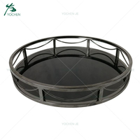 Luxury glass round mirrored serving tray with metal frames