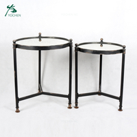 Mirror modern round metal coffee table set