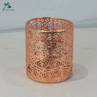 Wholesale Iron Rose Gold Metal Candle Holder for Home Decoration