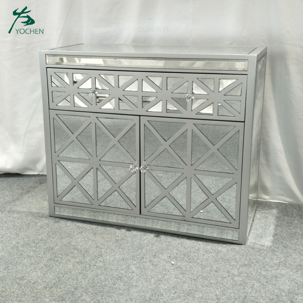 nice carved mirror wooden cabinet designs for living room