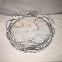 Handmade round artificial marble metal serving tray for home decor and hotel