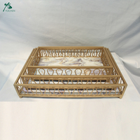 Marble Top Serving Tray With Metal Frame Good Quality