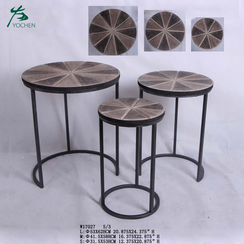 Modern coffee side table wood nesting tables