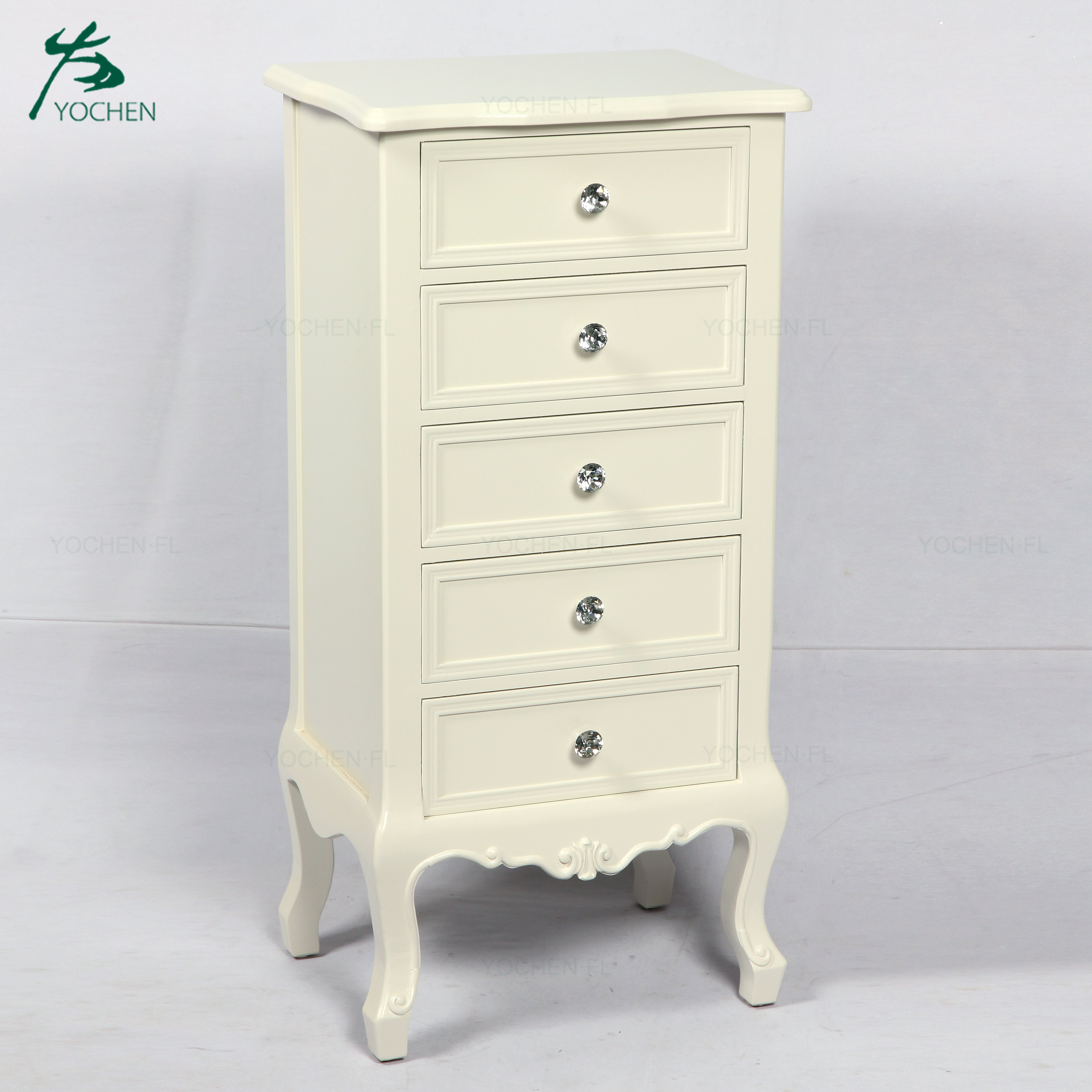 royal antique luxury furniture rice white wooden nightstand