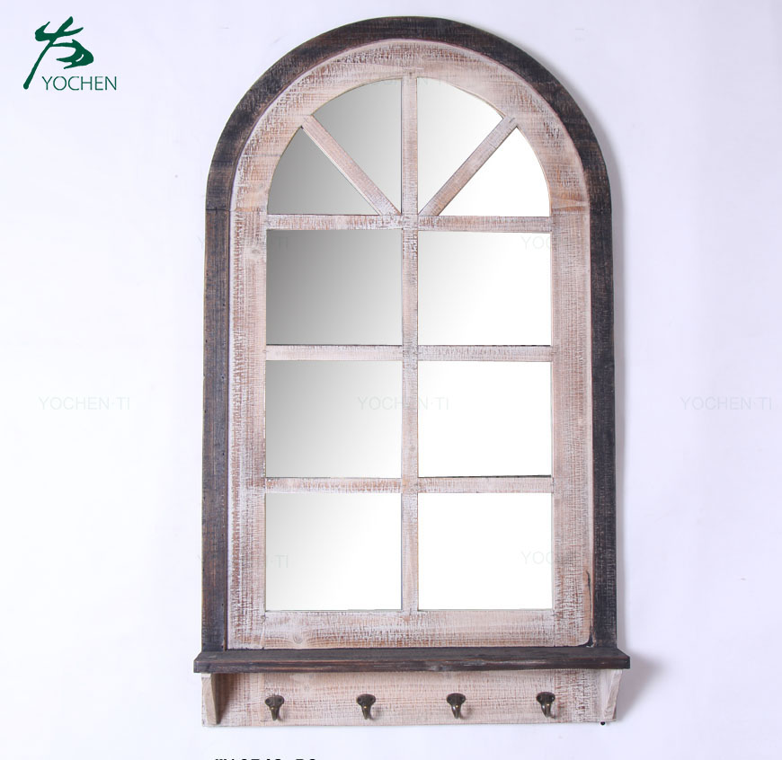Classic garden decorative antique wooden framed gothic garden decorative wall mirror