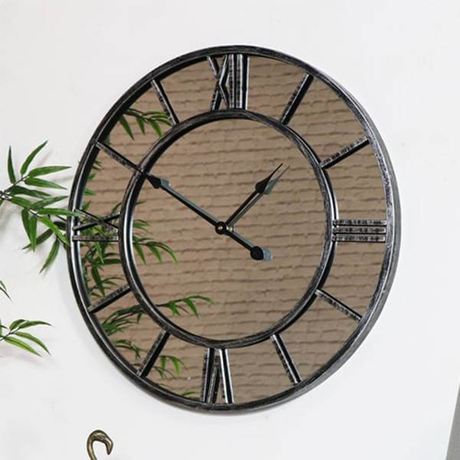 Antique Oversize Large Mirrored Glass Wall Clock
