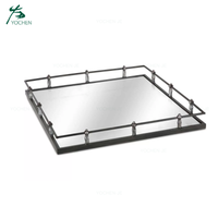 Square Metal Mirrored Decorative Vanity Serving Tray