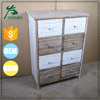 unfinished solid wood cabinet with many drawers
