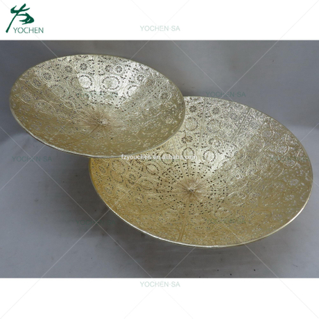 Decorative Vintage Gold Hammered Metal Candle Plate Display Tray