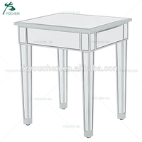 End Table in Antique Silver Paint Living Room Side Table Mirorred Furniture Wholesale