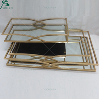 Metal Framed Mirrored Tray Gold Color Serving Tray
