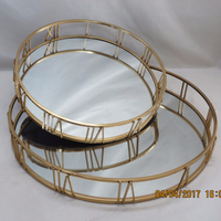 Houseware Table Decoration Metal Mirror Tray in Antique Gold