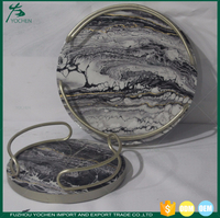 Round Wooden Faux Marble Trays Set 2