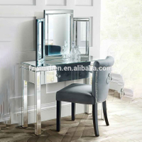 Modern Diagonal Mirror Furniture Dressing Table with Stool and Mirror
