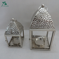 Silver candlestick decorative hang metal bird cage candle holder