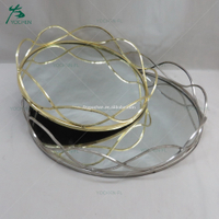 Clear mirror silver plated tray in houseware decoration