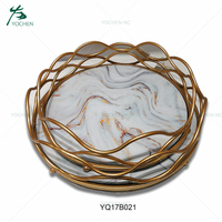 Round shape gold serving metal tray