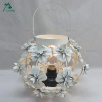 white flower pattern decorative centerpiece with LED light