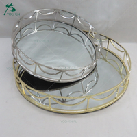 Houseware shining metal frame silver plated serving tray