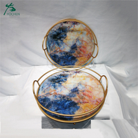 Unique round metal marble serving tray food serving trays