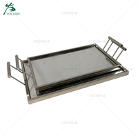 Mirrored decorative rectangle tray with metal handles