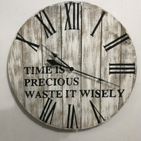 Living room rustic wooden round decorative wall clock