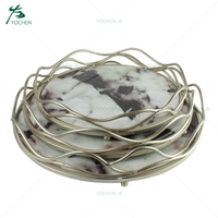 handmade home decor round white marble serving tray