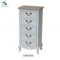 Modern Tallboy Dresser 5 Drawer White Chest of Drawers