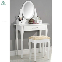 Bedroom large vanity table white mirrored dressing table with mirror and stool