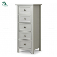 Wood bedroom furniture 5 drawer tallboy chest drawer furniture