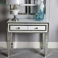 Cheap Price White Glass Mirrored 2 Drawer Console Table In Low MOQ