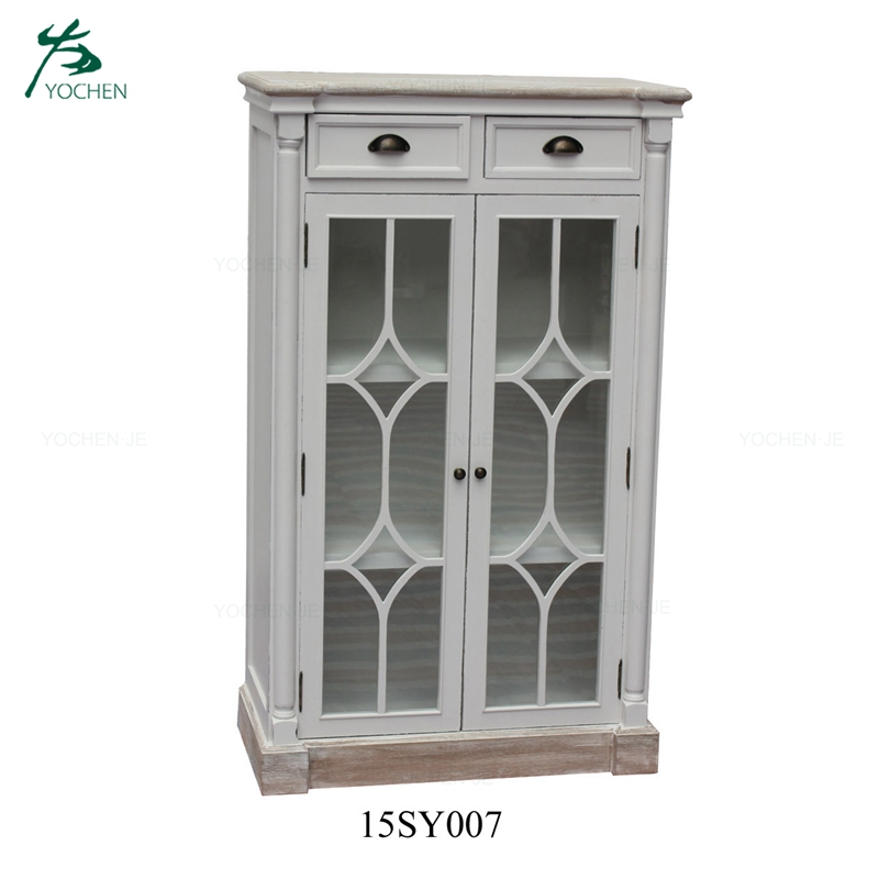 Classical antique tall wooden bookcase furniture with drawer storage