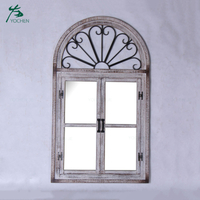 antique wood large decorative wooden window wall mirror