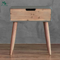 Chinese Wooden Bedside Table End Table with Pine Legs