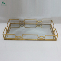 Rectangle Gold Mirrored Glass Metal Serving Tray