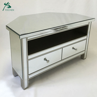 Wood glass mirror tv table stand modern tv unit furniture