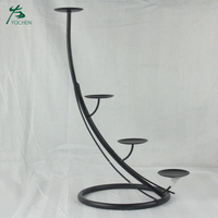 Home interior antique black metal candle holder