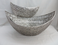 Boat Shaped Galvanized Metal Fruit Storage Pallet, Decorative Silver Boat Shaped Fruit Bowl