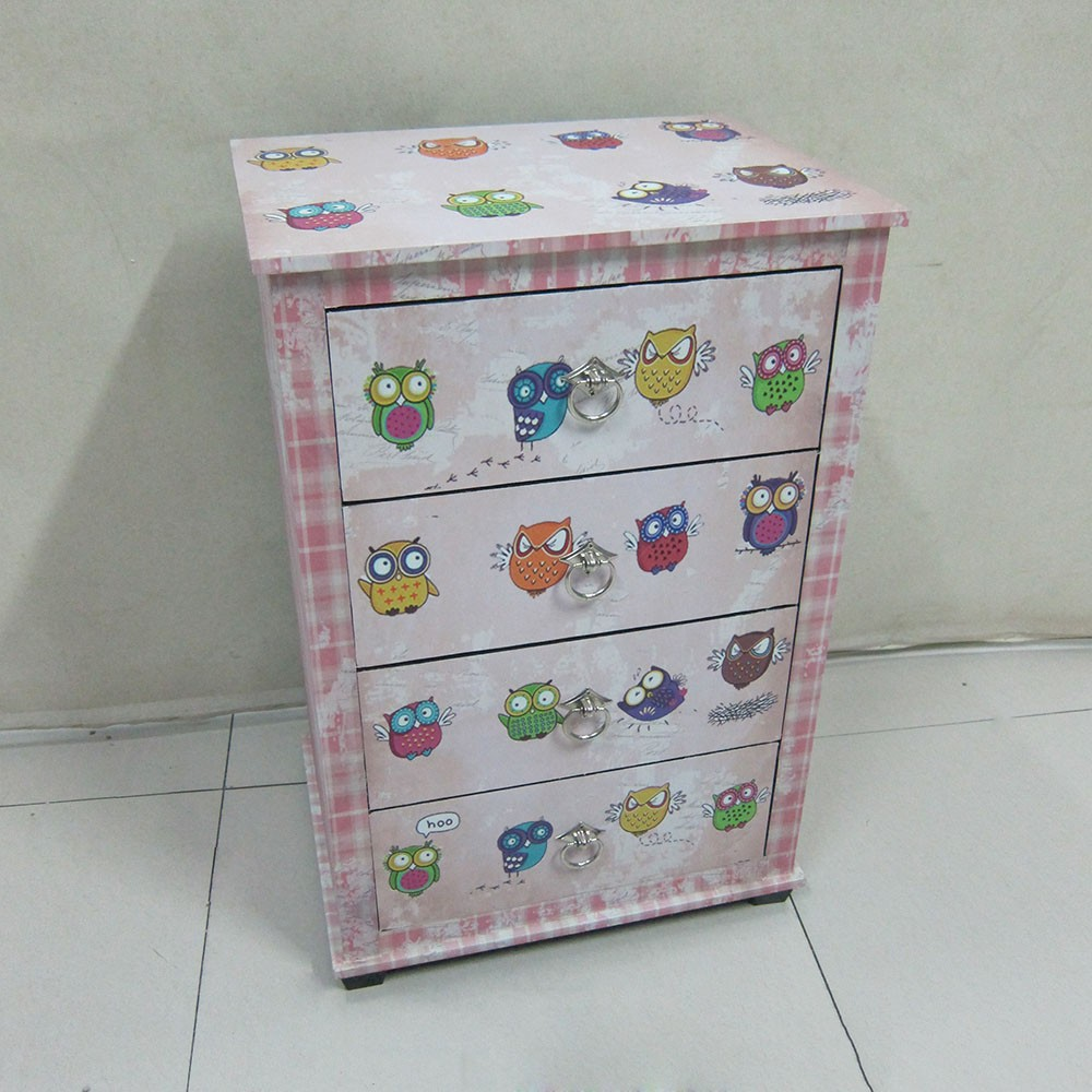 Lovely cartoon owl printing wooden cabinet with 4 drawers for children room