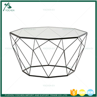 Home Interior Matt Black Geometry Modern Design Glass Center Table