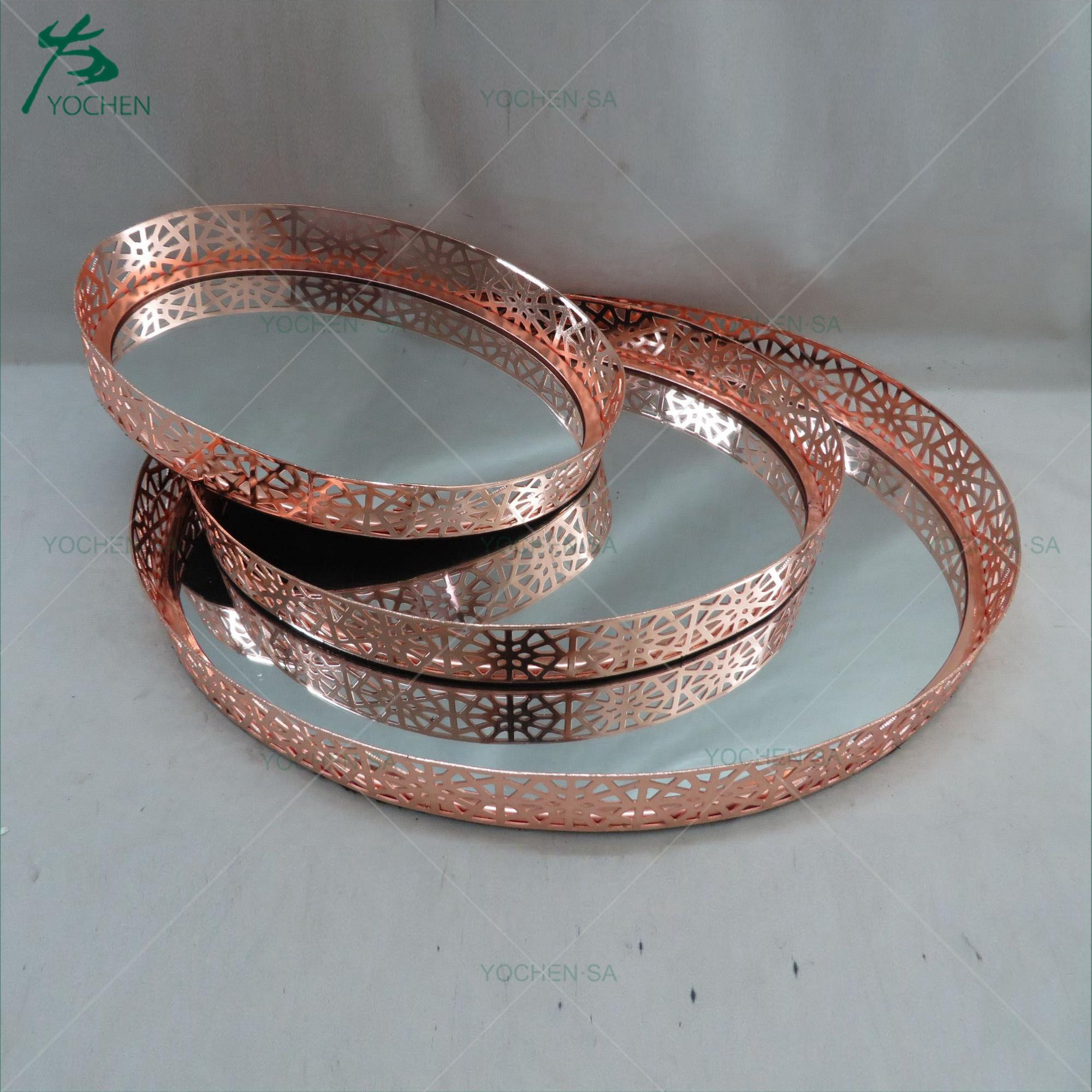Rose Gold Mirrored Tray Plate Candle Wedding Display Holder