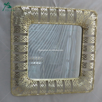 art deco shining colored mirror glass metal frame mirror